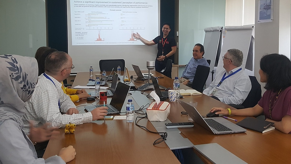 It's a highly international environment where we collaborate with people from across the globe. This is me, presenting to colleagues from seven different countries in the same room!