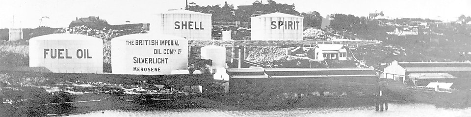 Black and white photo of shell depot