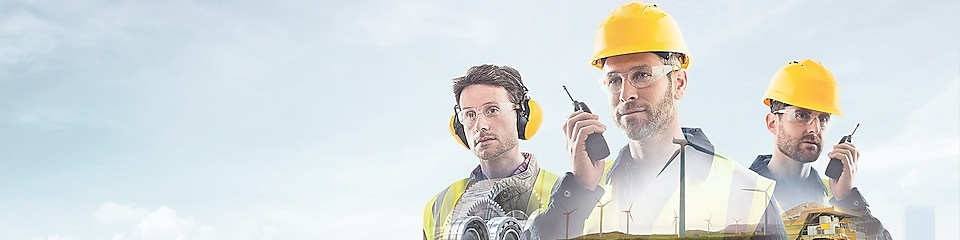 three workers on radios and reading documents, transposed over a background of blue sky with light clouds