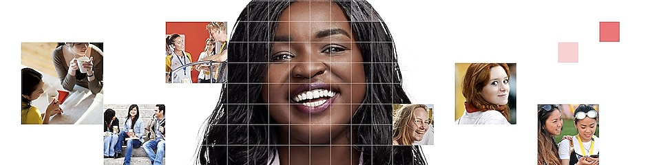 African American female with long black hair, with a mosaic of images surrounding her.